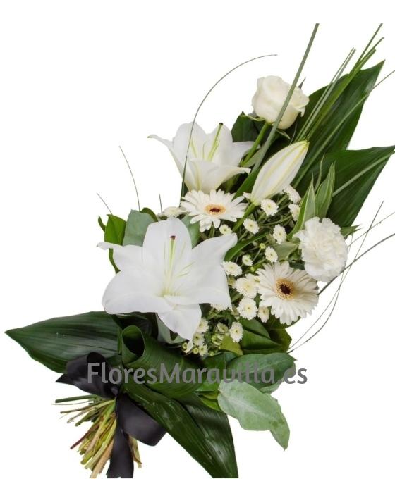Ramo Funerario Blanco Detalle Flor Ramo De Flores Para Funeral
